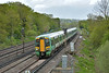 377419  approaches Salfords with 1H18 the 12.17 Southern service from  London Victoria to Littlehampton and Eastbourne<br /> The former footcrossing at this point has recently been replaced by a new footbridge which enabled this view towards Redhill.<br /> <br /> 26 April 2018