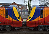 A closer look at the cab ends of 707006 / 707004 as they halt at Virginia Water working 5Q35 from Staines Up Loop to Reading<br /> <br /> 14 March 2017