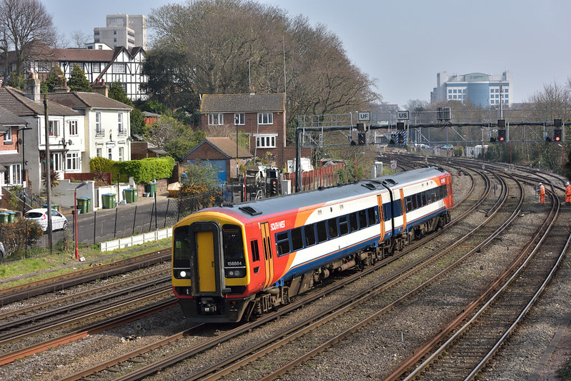 Class 158 No.158884 leaves Southampton Central  with  2S35 13.07 service from Romsey to Salisbury<br /> <br /> 27 March 2017
