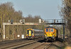 GBRf ED's 73963/73964 returning with 1Q53 from Wimbledon to Eastleigh pass 159104 between Hersham and Esher working 1L50 the 14.47 sevice from Salisbury<br /> <br /> 15 March 2017