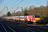 1E10  the 10.00 VTEC service from Edinburgh to London Kings Cross has been switched to the Down Slow line through Welham Green led by DVT 82226  with Class 91 No.91119 at the rear.<br /> <br /> 29 December 2016