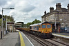 GBRf 66728 'Institution of Railway Operators'  draws through Chertsey at the head of 6Y42 engineers service from Hoo Junction  to Eastleigh East Yard<br /> <br /> 17  April 2017