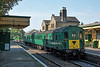 Class 205 Hampshire Unit  DEMU No 1125 -  'Thumper' in the platform at Alresford preparing to return to Ropley yard.<br /> <br /> Mid Hants Railway<br /> Alresford<br /> <br /> 13 September 2016