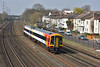 SWT Sprinter 158880 approaches Southampton central working 2R46 /12.56 service from Salisbury to Romsey<br /> <br /> 27 March 2017