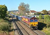 66199 crosses Chertsey Meads in charge of  6Y55 with loaded boxes from Angerstein Wharf (Tarmac) to Woking <br /> <br /> 22 October 2018