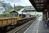 An unexpected trio of Freightliner Class 66 led by 66554 / 66595 / 66957 pass Tilehurst working 654J 1019 Hinksey Sidings to Eastleigh East Yard<br /> <br /> 25 April 2017