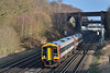 159103 emerges into the sunshine at Potbridge with 1L37 / 13.20 service from London Waterloo to Exeter St Davids<br /> <br /> 13 January 2017