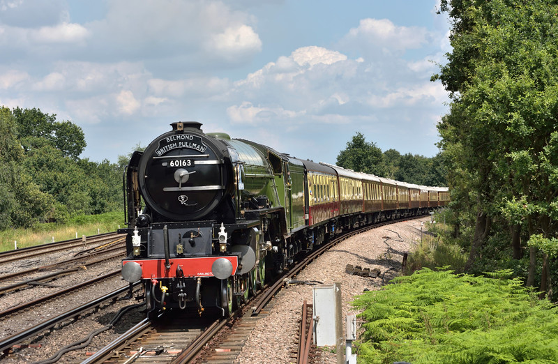 LNER A1 No. 60163  'Tornado' climbs up to the SWML at Byfleet & New Haw  heading 1Y82 The Belmond British Pullman luncheon train from Victoria on its circular tour of scenic Surrey<br /> Sadly, just a bit too warm for steam effects today.<br /> <br /> 23 July 2016