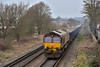 66017 draws through Chertsey with a full load of VTG hoppers forming 6Y55 from Angerstein Wharf to Woking <br /> <br /> 16 March 2017