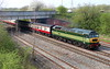 21 April 2018. Superbly turned out D1944 / 47501 CRAFTSMEN passes under the A422 just north of Banbury leading a Locomotive Services private charter, the 1Z26 0935 Oxford - Crewe.