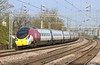 14 April 2018. Repainted 390009 Treaty of Union heads away from Wolverton on the 9G11 0923 Euston - BNS.