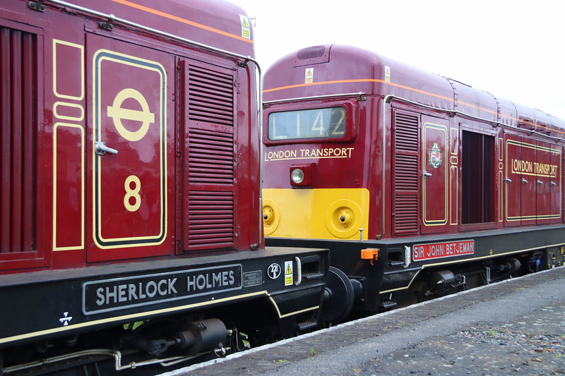 29 April 2018. During the layover at Quainton, 20227 was named SHERLOCK HOLMES, seen here with sister 20142 SIR JOHN BETJEMAN. Note the fictitious shedplate on 20227 of 221B which relates to 221B Baker Street, the abode of Sherlock Holmes.