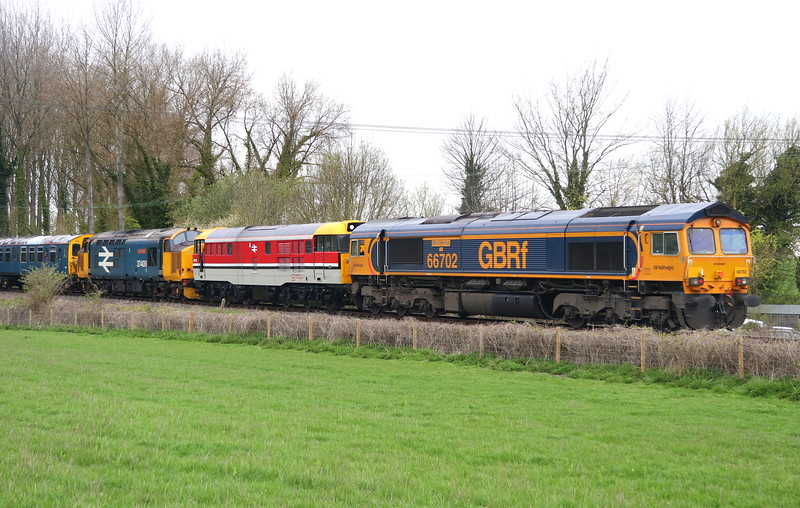 66702 + 97205 + 37409 Bledlow Cricket Club, Chinnor & PR Railway 6 April 2019