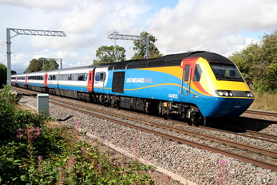 10 August 2018. EMT 43052 passes Oakley leading the 1B53 1445 Nottingham - St Pancras International.