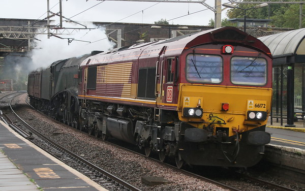 10 August 2018 A grey scene as 66172 PAUL MELLENEY pilots 60009 UNION OF SOUTH AFRICA through Wolverton running just over an hour late with the 1019 Southall -Crewe HS.