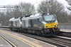 18 February 2017. The regular 0A68 and 0K69 light engine move swops sees 68014 and recently named 68010 Oxford Flyer pass Wolverton on the 0A68 0650 Crewe Gresty Bridge - Wembley LMD.