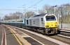 24 February 2018. 67029 Royal Diamond curves through Wolverton with the 5Z16 1011 Burton Wetmore Sidings - Wembley ECS. The stock was used the following day for a Chelsea footex to Manchester.