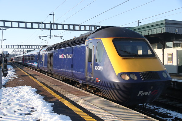 2 February 2019. FGW blue uniformity as 43086 trails the 1G38 1415 Paddington -  Gloucester at Didcot.