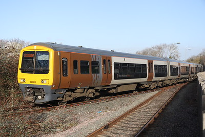 9 February 2019. With 08629 Wolverton pushing from the rear, 323202 arrives into Wolverton Works having travelled from the West Midlands as the 0744 Soho LMD - Wolverton Centre Sidings.