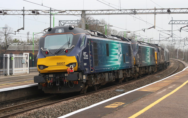 19 January 2019. A closer inspection of the class 88's on the rear of 0K69 passing Wolverton.