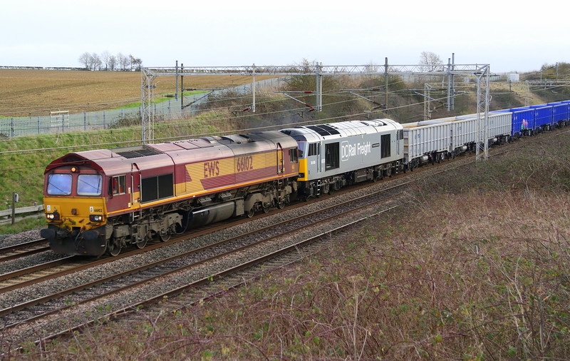 66102 + 60055 Castlethorpe 11 January 2020