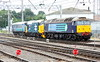 17 July 2015. Having traversed south through Carlisle earlier, 57011 + 37401 Mary Queen of Scots + 9705 head back to Kingmoor on test.