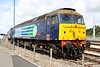 """18 July 2015. 57011 has one DRS liveried mark 2 vehicle for company as she catches the sun at Kingmoor open day. The same loco is seen in the border city 22 years previously here <a href=""""https://mark-beal-tmd.smugmug.com/RetrospectiveRail/Retrospective-Class-47/i-BD4xP9V"""">https://mark-beal-tmd.smugmug.com/RetrospectiveRail/Retrospective-Class-47/i-BD4xP9V</a>"""