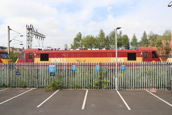 21 July 2018. Her external condition gives a false account of her recent activity as 90032 stands stored at Crewe Electric Depot. She has been out of active use since February 2004 with defective wheelsets. Sister loco 90030 is on her left whilst on the right, 90038 is just visible.