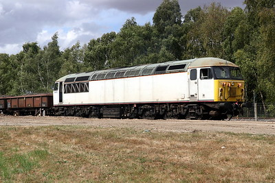 28 July 2018. Carrying the remains of her former Fertis livery whilst on hire to work in France, 56103 stands at Calvert reversing before shutting down for the day.