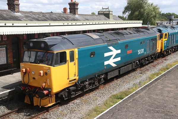 28 July 2018. 50049 Defiance masquerading as 50011 Centurion at Quainton Road. Note the branch on the roof which was acquired on the jaunt from Quainton to Claydon and back.