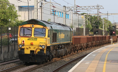 21 July 2018. 66540 Ruby passes MK on the rear of the 6Y55 1446 Crewe Basford Hall - Wembley Central engineers.