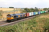 20 July 2018. 66761 Wensleydale Railway Association 25 Years 1990 - 2015 passes Castlethorpe with 4M23 1046 Felixstowe - Hams Hall.