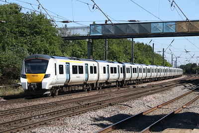 25 June 2018. Thameslink 700131 leaves Hitchin with the 9S41 1454 Cambridge - Brighton.
