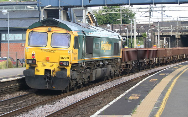 23 June 2018. With 66418 leading, 66503 The RAILWAY MAGAZINE brings up the rear of 6Y52 at Wolverton.
