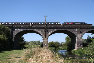 30 June 2018. 37884 Cepheus drags 319372 across Haversham Viaduct and crosses the River Ouse with the 5Q36 1022 Wolverton Centre Sidings - Allerton Depot.