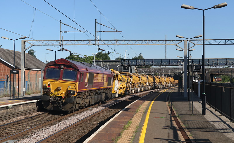 30 June 2018. 66024 tails the 6R02 1450 Crewe Basford Hall - Euston through Wolverton with sister 66040 at the front.