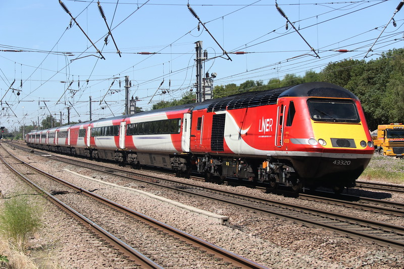 25 June 2018. Goodbye Virgin East Coast, hello LNER. One of the first vehicles to gain LNER branding, 43320 heads South at Hitchin working the 1E09 0930 Edinburgh - King's Cross.