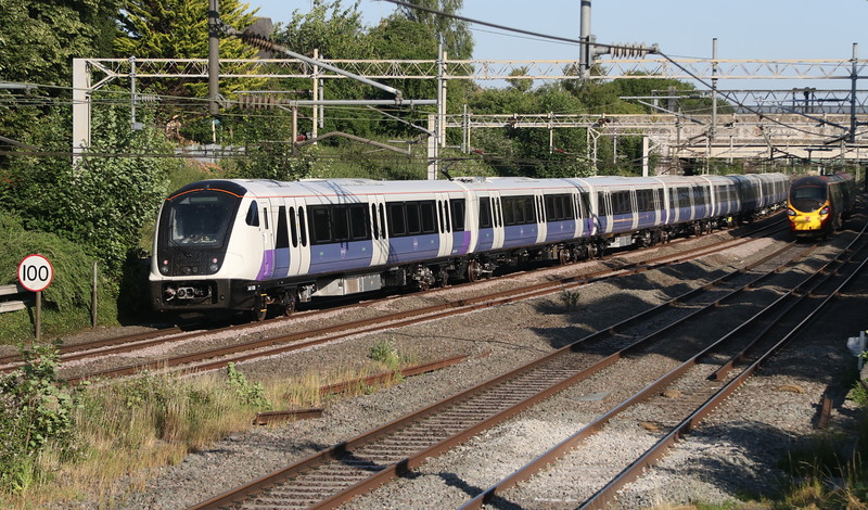 29 June 2018. New Crossrail unit 345038 passes Castlethorpe on the slow with the 5Z72 1529 Crewe CS - Wembley.