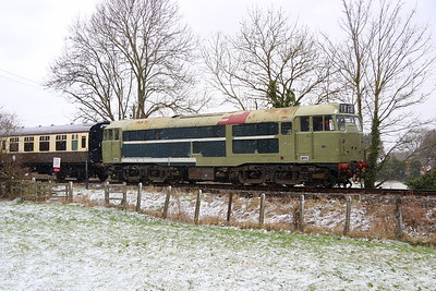 17 March 2018. Shades of green and white as 31163 forms the rear of the 1C44 1225 Princes Risborough - Chinnor. She was introduced to traffic in January 1960 and was withdrawn in January 1999 before preservation beckoned.