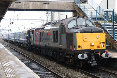 17 March 2018. 37800 Cassiopeia stands at Bletchley with 375926 in tow working the 0442 Chaddesden Curve - Ramsgate Depot.