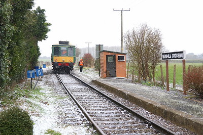 17 March 2018. Bitterly cold on the branch line as bubble W55023 stands in the snow at Wainhill Crossing with the 2W43 1300 ex Chinnor.