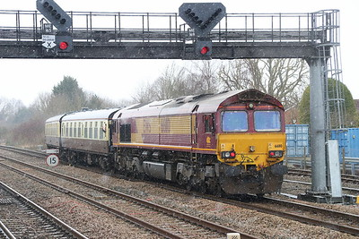 17 March 2018. 66110 trails 'The Missing Link' as the charter takes the branch to Aylesbury at Princes Risborough.