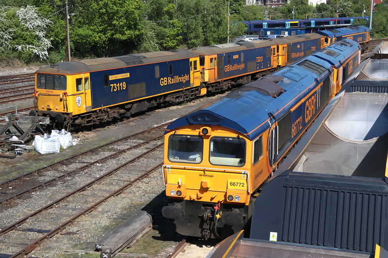 5 May 2018. Lets have a GBRf party as Tonbridge Yard hosts 73119, 73213, 73212, 66768, 66772 and 66786.