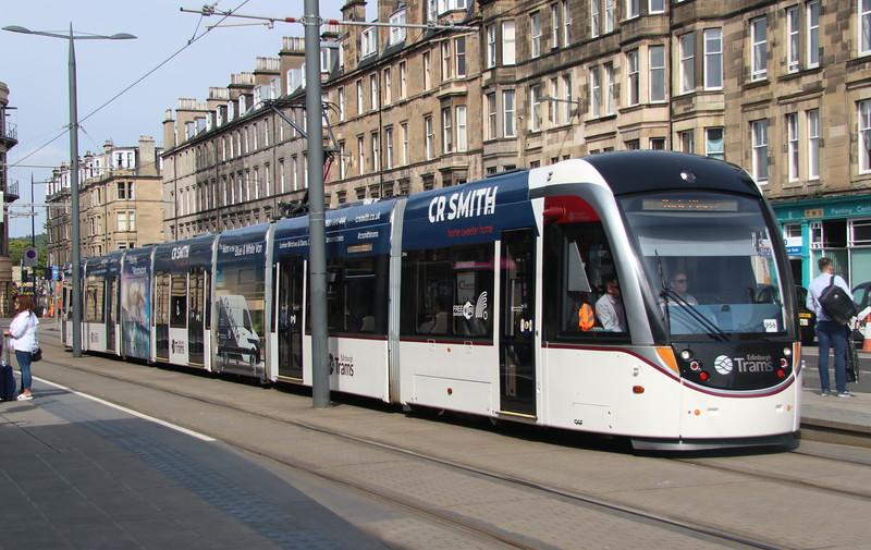 18 May 2018. Edinburgh tram 274 calls at Haymarket heading for York Place.