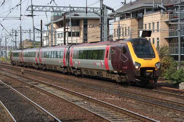 18 May 2018. 221141 approaches Haymarket with the 1V60 0820 Aberdeen - Penzance. This service was terminated at Newcastle due to a person being hit by a train further South.