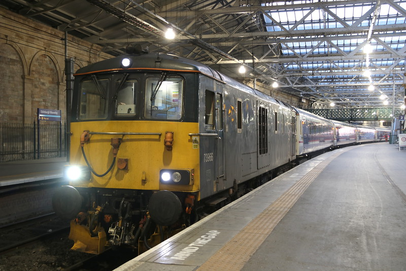 18 May 2018. 73966, the former 73005 stands at Edinburgh with the 1Y11 0450 to Fort William.