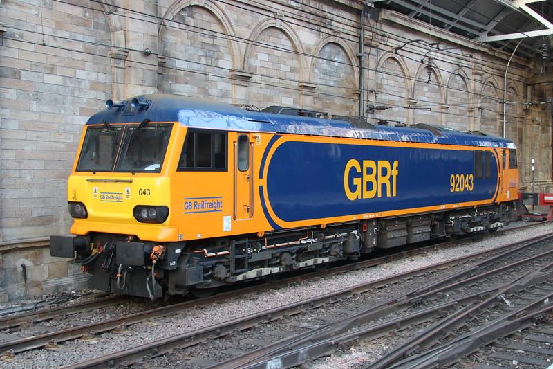 18 May 2018. GBRf 92043 seen stabled between sleeper duties at Edinburgh.