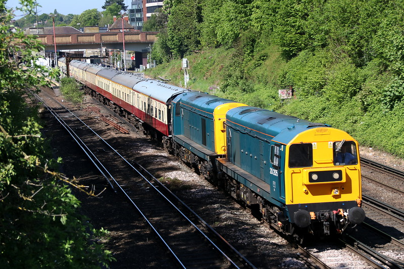 5 May 2018. Both carrying Eastfield plaques on their bodysides, 20205 + 20189 chop past Bromley South with the 'Diamond Twenties', the 1Z20 1043 London Victoria - Mountfield.