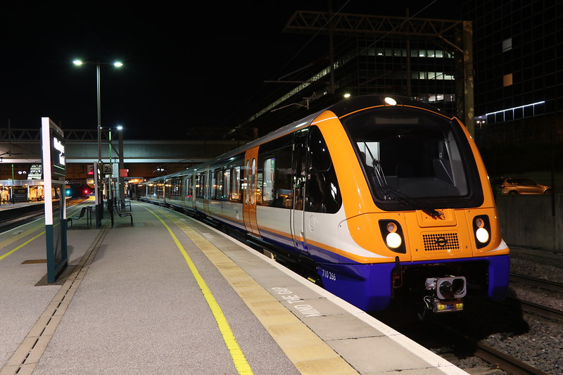 23 October 2018. Testing continues of the new class 710 London Overground units. 710266 stands in the bay platform at MK having arrived on the 5Q10 ex 2146 from Willesden TMD. She returned south on the 5Q11 2335 to London.