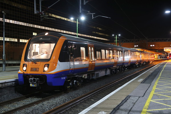 9 October 2018. New London Overground unit 710265 is looped and held on a red signal at MK on test whilst working 5Q10 2032 Willesden TMD - Crewe. She was looped to allow passage of GBRf 66759 which was working 4M02.
